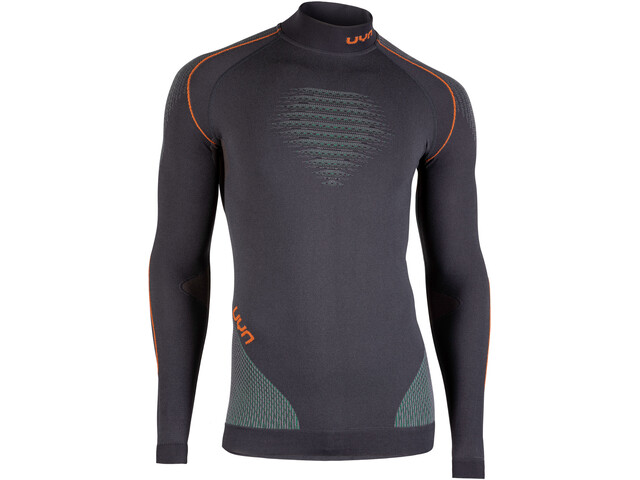 UYN Evolutyion UW LS Turtle Neck Top Men charcoal/green/orange shiny